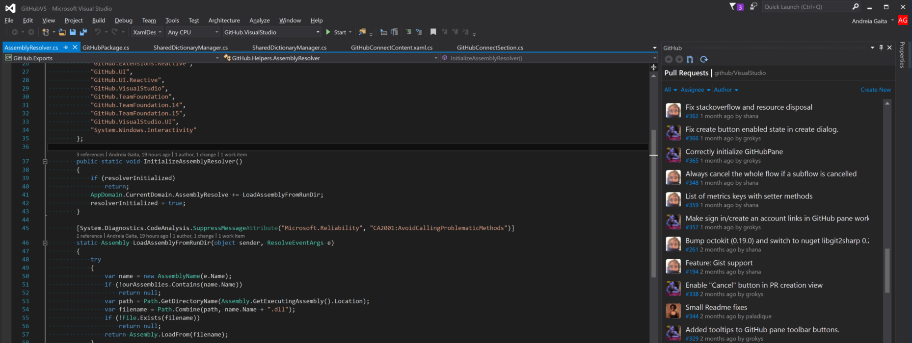 Screenshot of Visual Studio with GitHub pane open