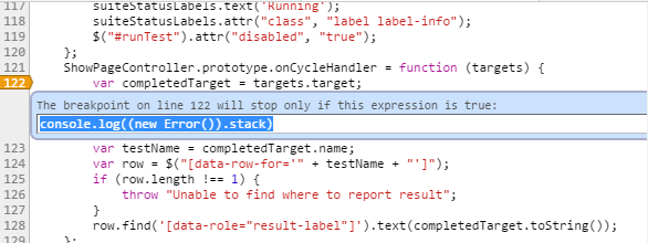 Expression to print call stack