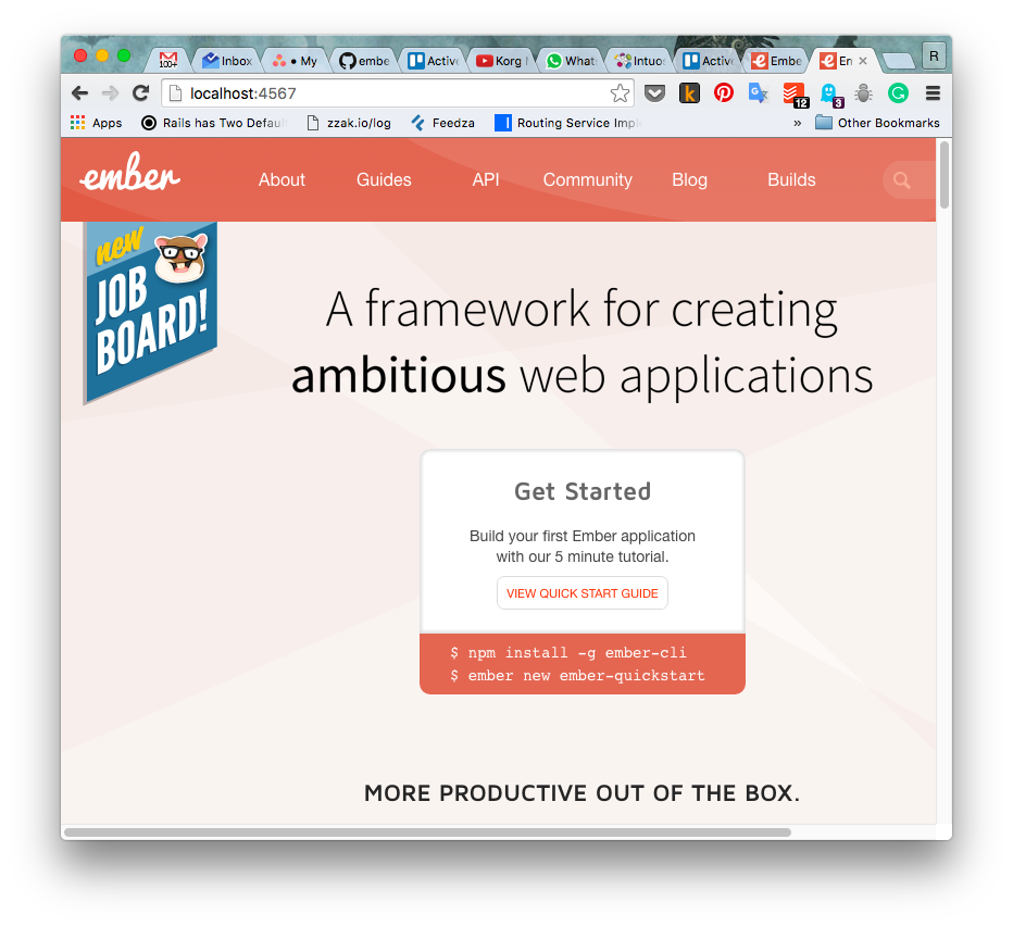 Ember.js home page with new call to action widget