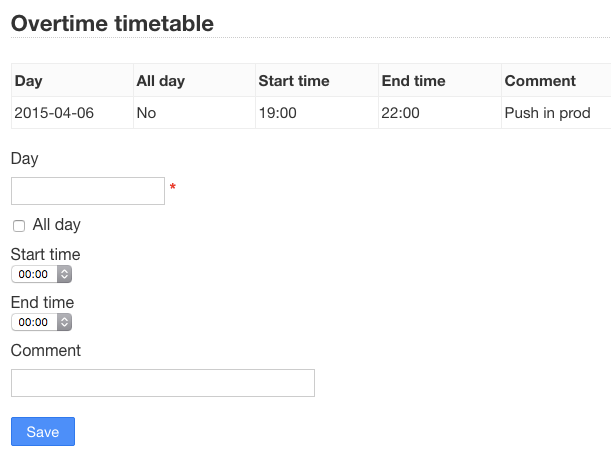 Overtime Timetable