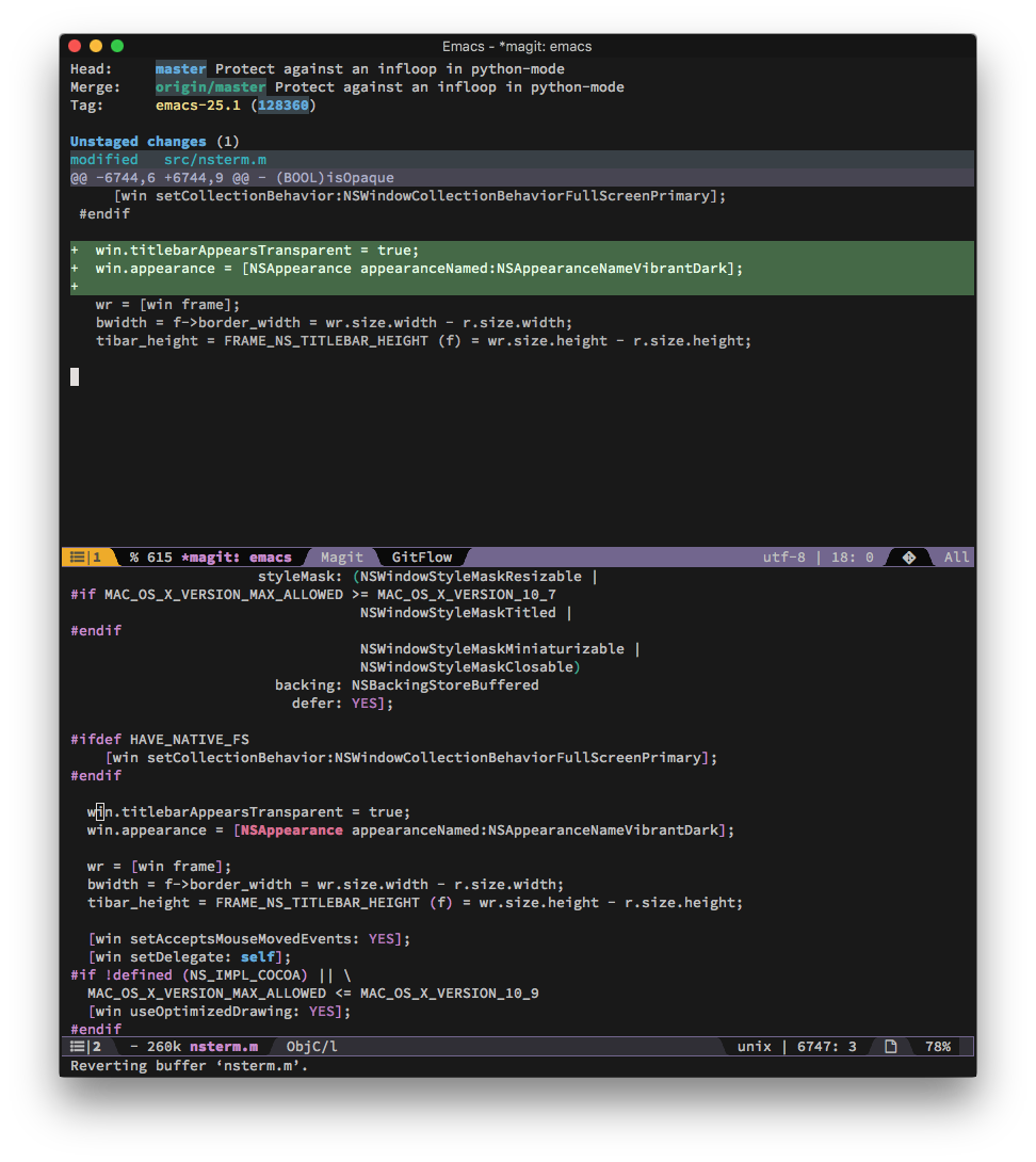 Emacs plus with vibrant dark header