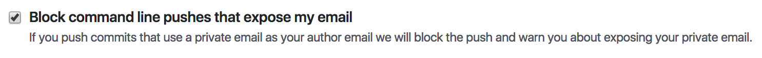 email settings page with the block command line pushes that expose my email checkbox