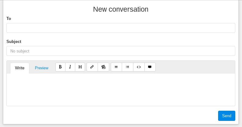 markdown editor on new conversation