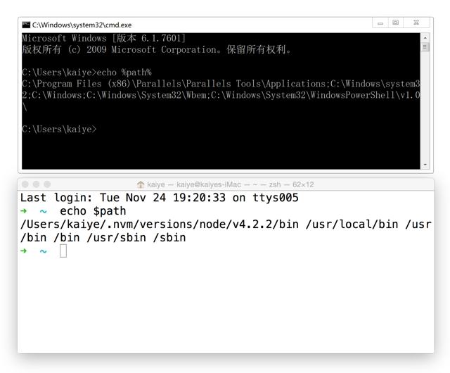 Windows CMD 与 Mac Terminal 下打印系统 path 变量