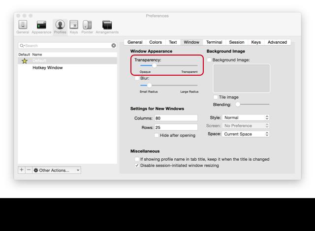 iTerm2 窗口透明度设置