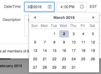 Facebook's event date text input
