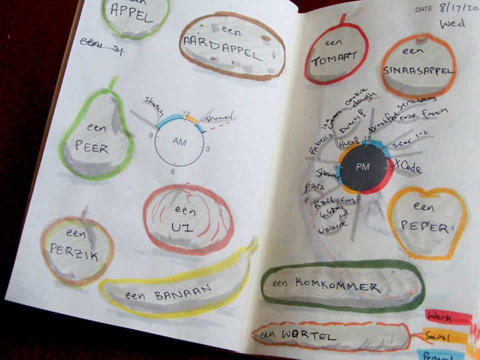 Mind map used to record a day in a diary