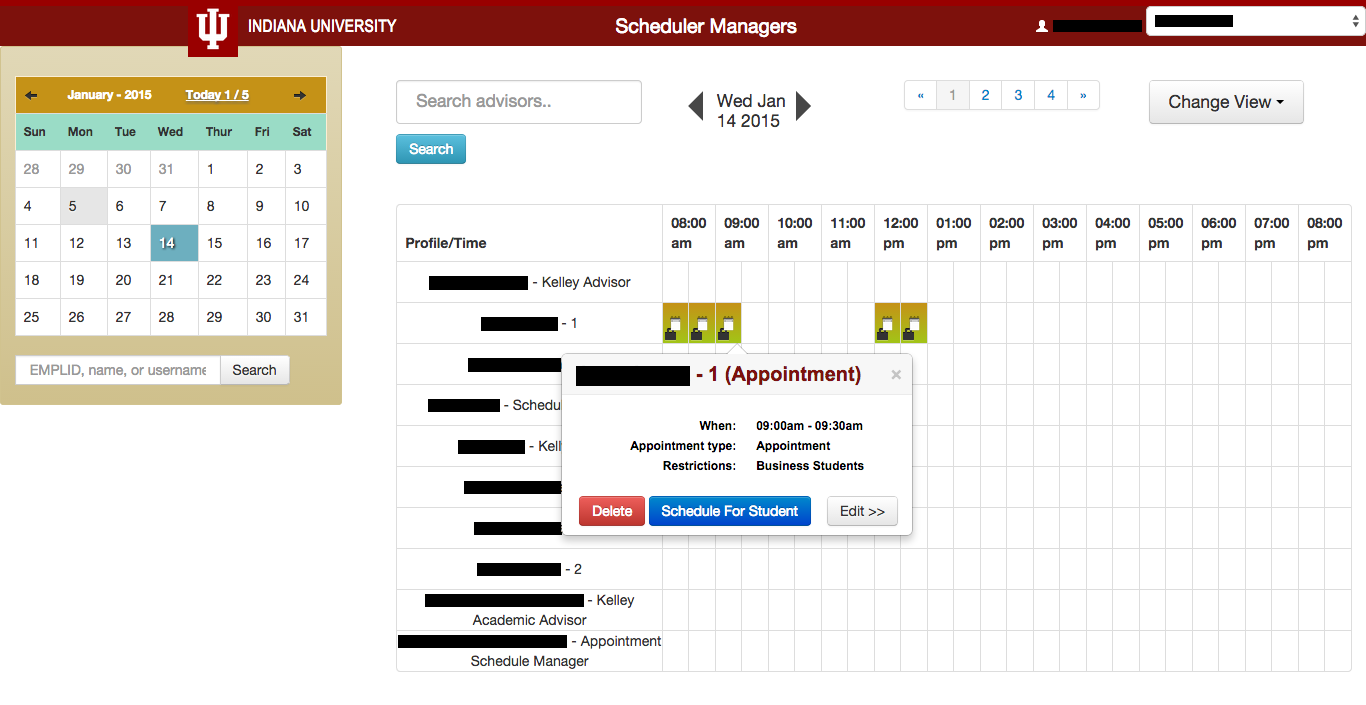 Screenshot of Schedule Manager, with original coloration