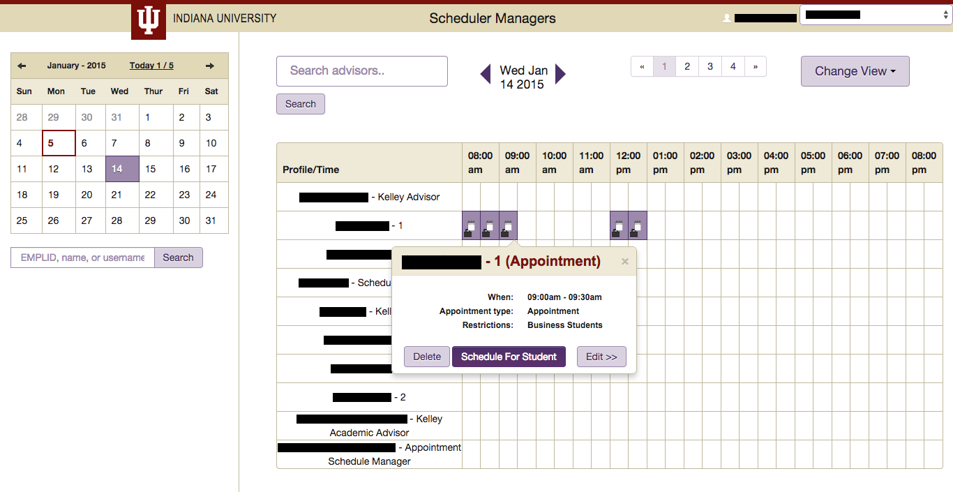 Screenshot of Schedule Manager colored with new palette