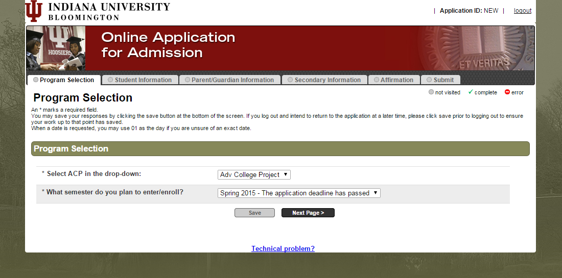 Screenshot of online admissions application