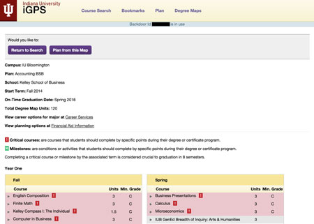 Screenshot of academic planner application