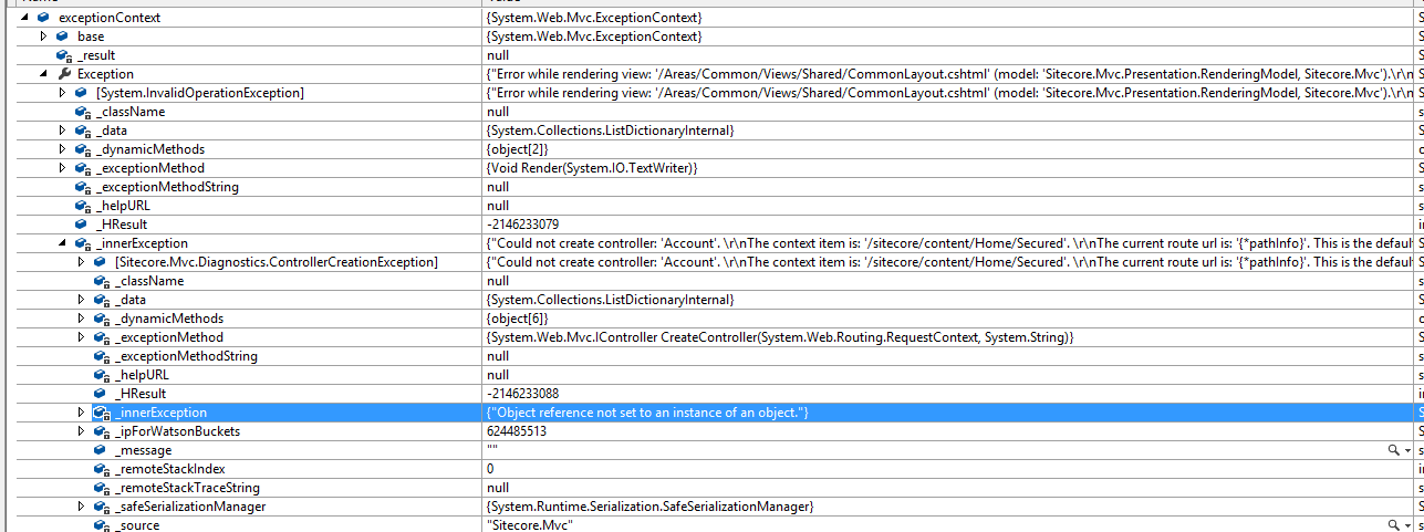 sitecore 7 5 area controller null reference