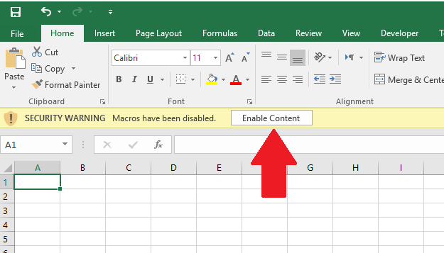 Enable Content on MS Excel