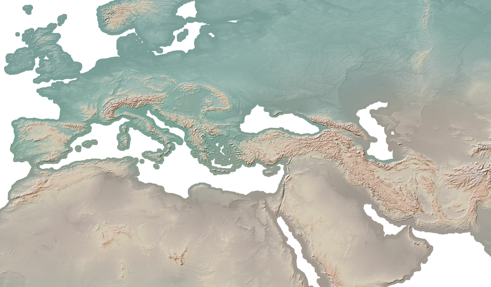 Shaded relief of Europe and East Asia