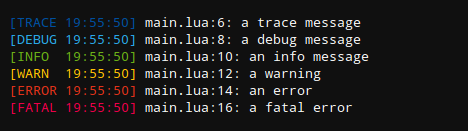 Example of log.lua's output