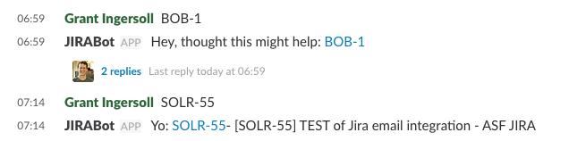 Sample screenshot of JIRABot in action