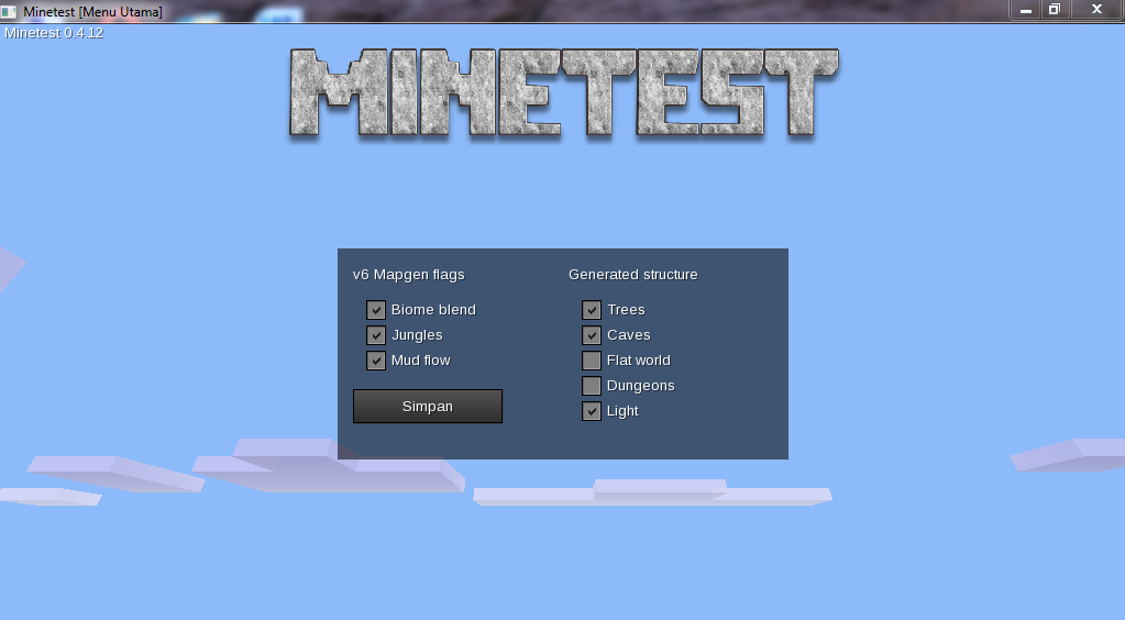 minetest-201503271346 mainmenu mapgen flags dialog