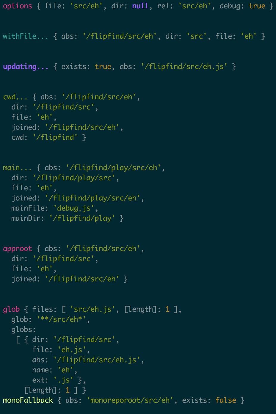 example debug output