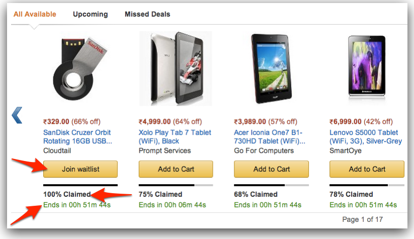 amazon in deals section
