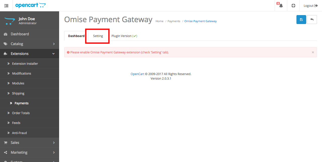Omise Payment Gateway dashboard page