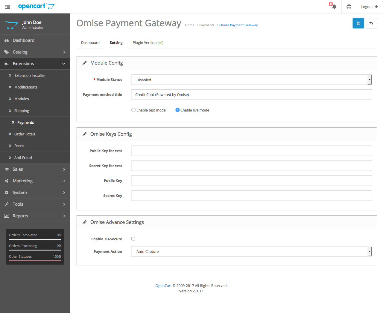 Omise Payment Gateway setting page