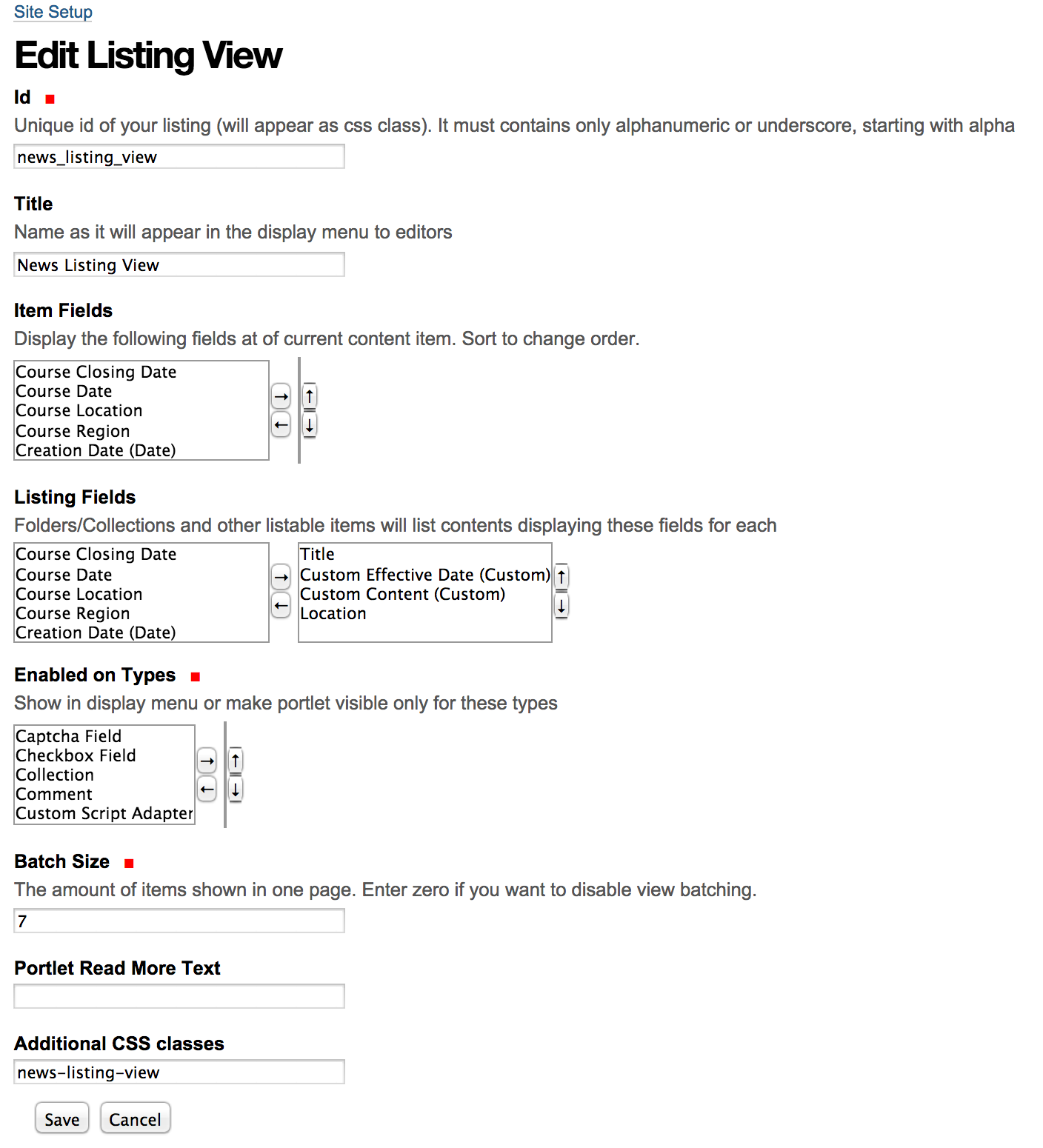 edit listing view
