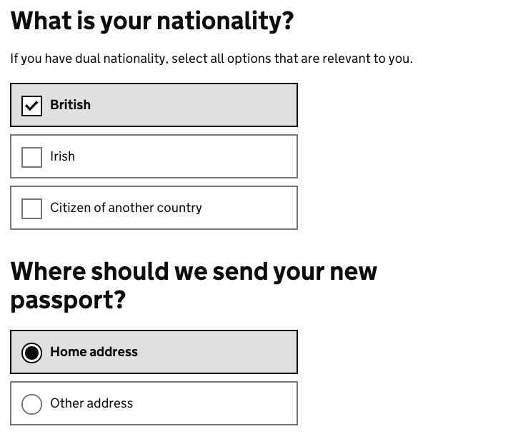 example radio buttons and checkboxes form elements gov uk elements