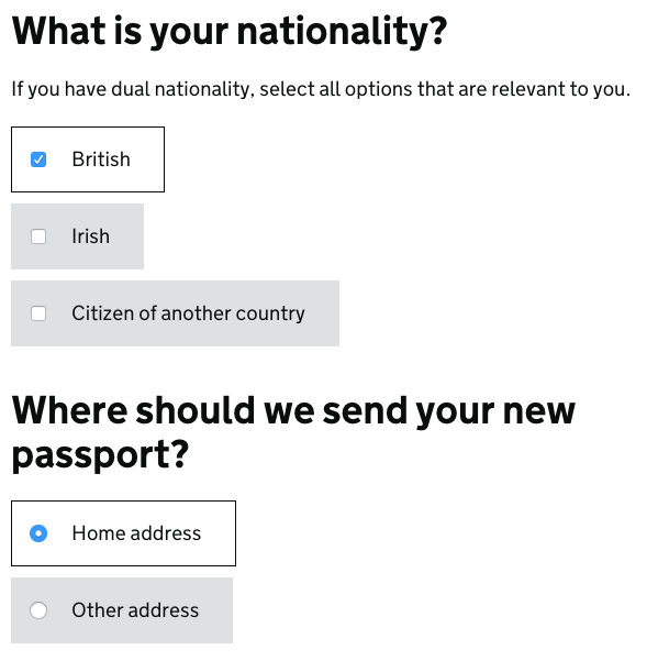 before - example radio buttons and checkboxes form elements gov uk elements