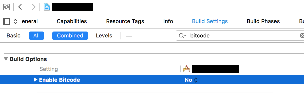 Xcode project bitcode setting disabled