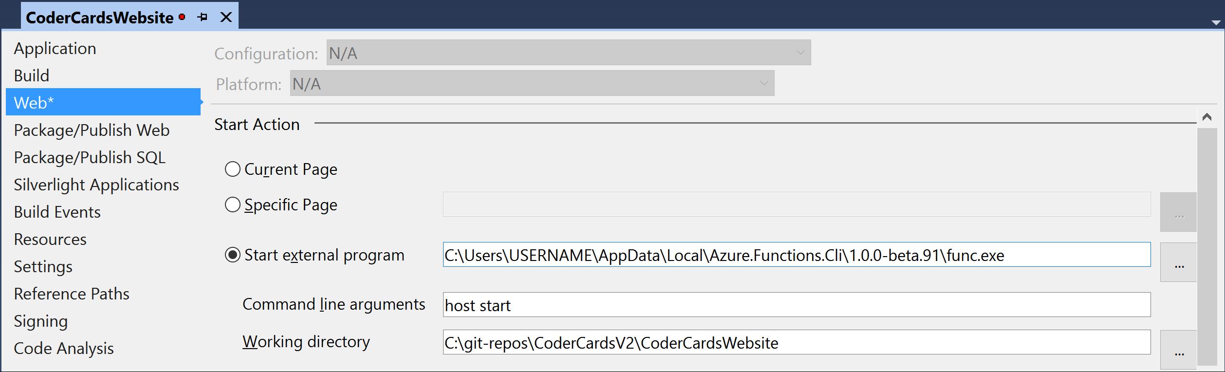 Start external program settings
