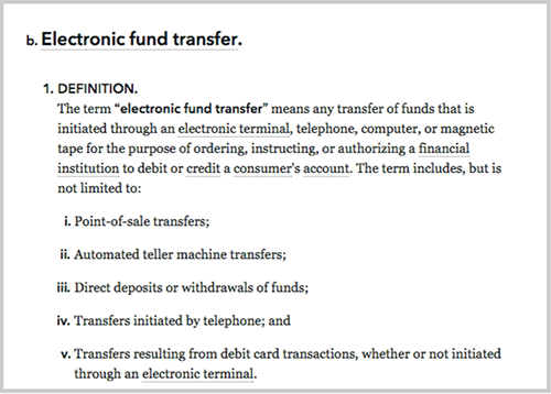 "Image of CFPB's definition of ""Electronic fund transfer"" showing headings at the (b) level and the (1) level but not the (i) level."