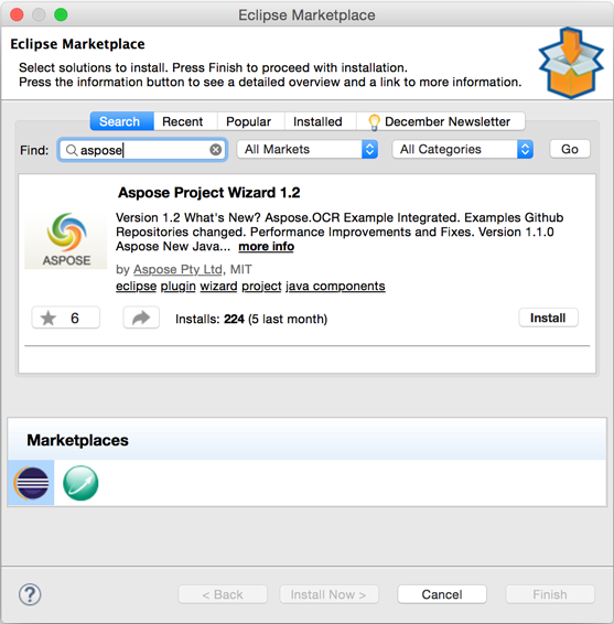 Install Aspose Project Wizard from Eclipse Marketplace