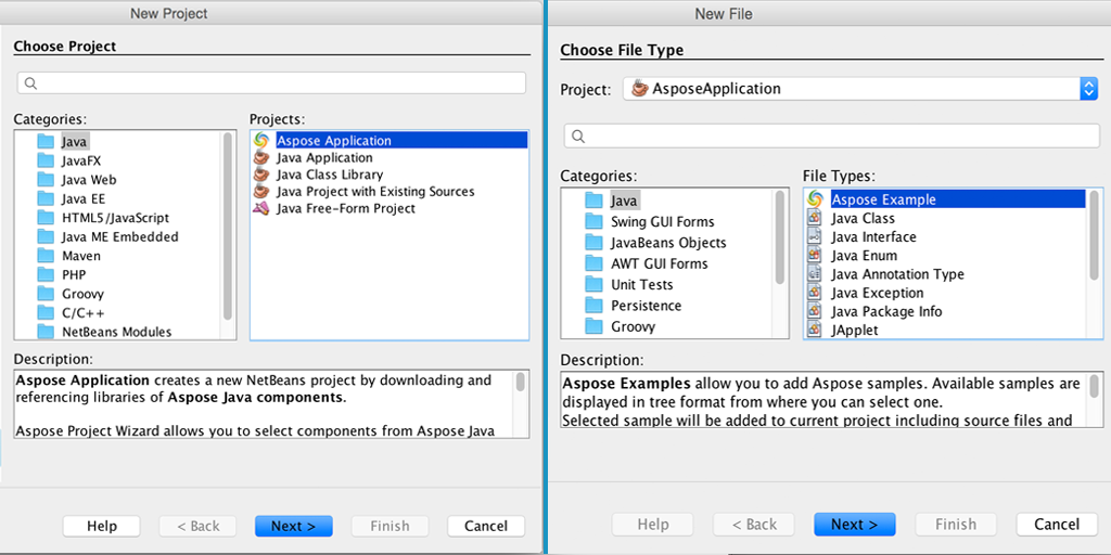 Aspose Java Project Wizard for NetBeans IDE