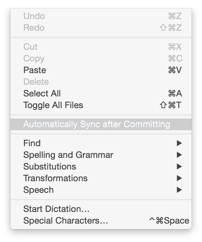 Automatically Sync after Committing in the Edit menu
