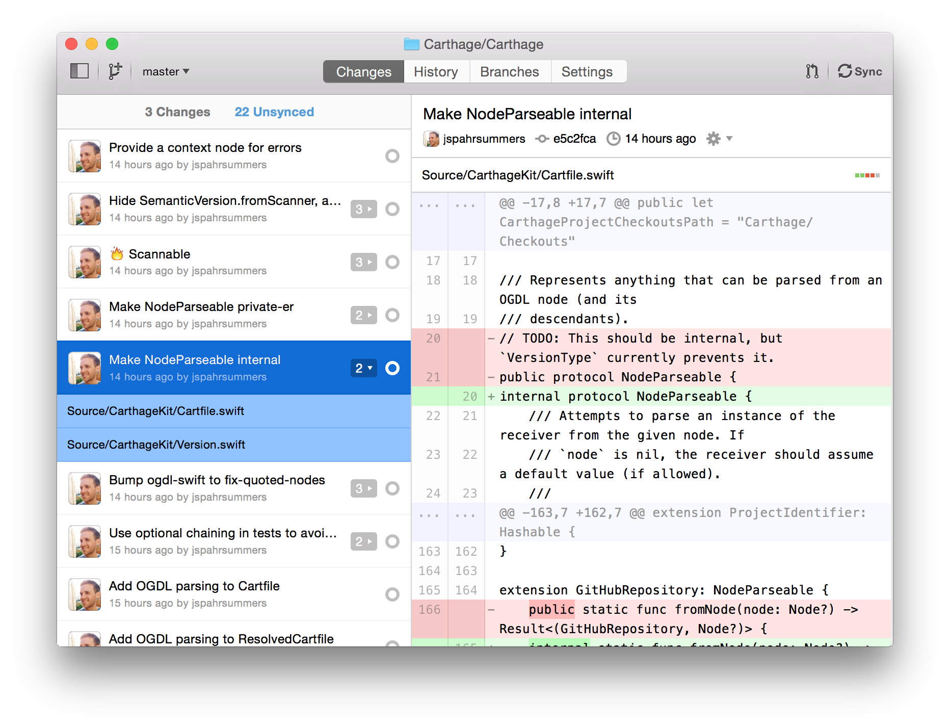 A long list of unsynced commits in GitHub for Mac