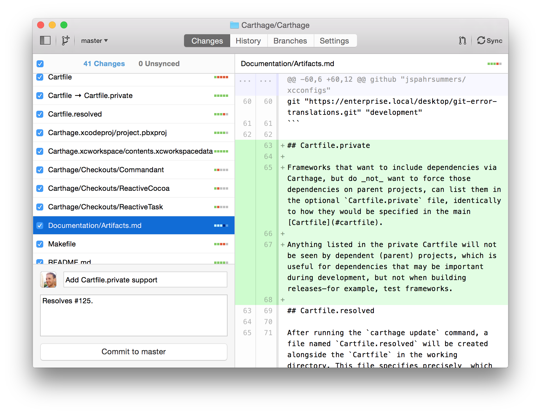 A long list of changes in GitHub for Mac