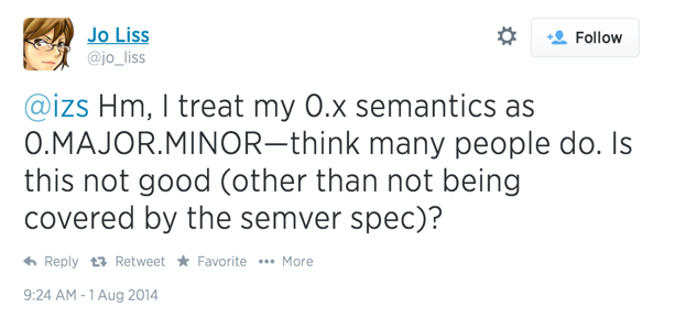 Hm, I treat my 0.x semantics as 0.MAJOR.MINOR—think many people do. Is this not good (other than not being covered by the semver spec)?