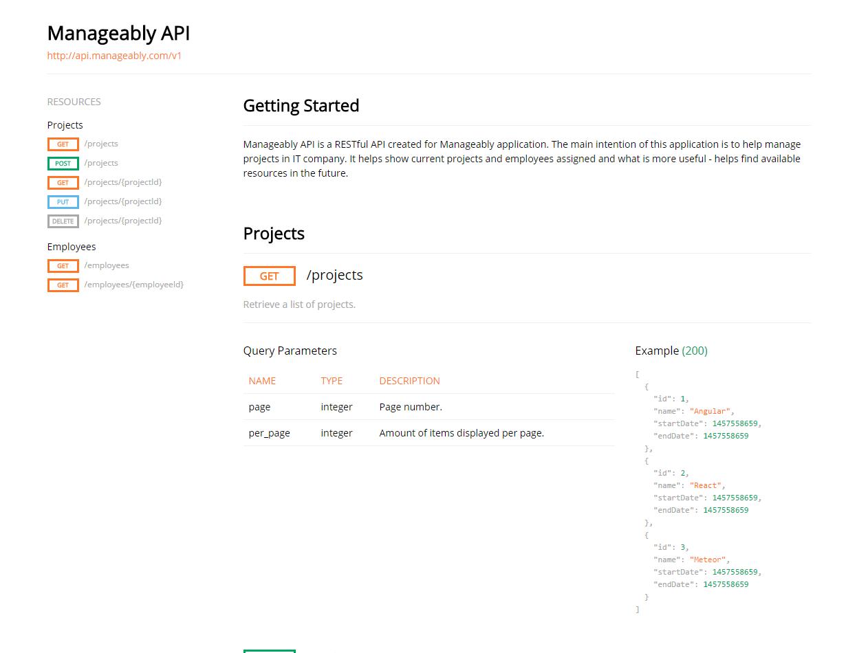 Manageable API - documentation generated by ramlo