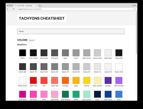 Tachyons Cheatsheet Web Page