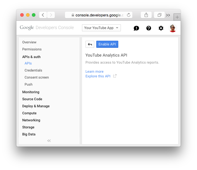 02c-enable youtube analytics api