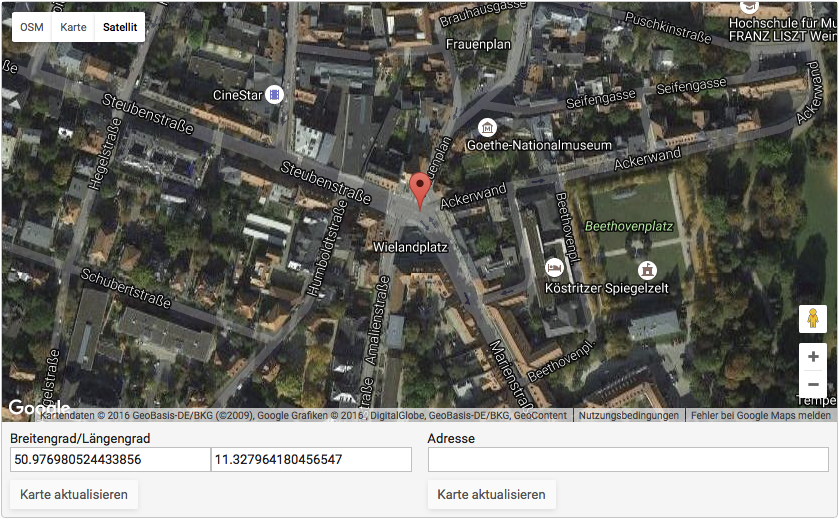 Map Location Field: Plot locations on a Google Map. Supports address geocoding.