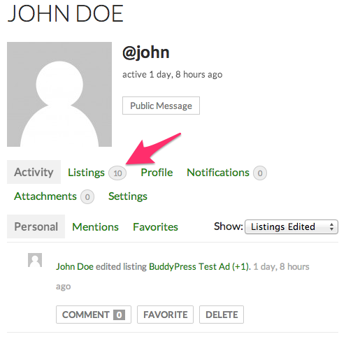 john<em>doe<strong></em>activity<em>streams</em></strong>awpcp<em>test</em>blog&#8221; title=&#8221;&#8221;></p> </li> <li> <p>When the Listings tab is active, three sub-tabs will appear: <em>All</em>, <em>Enabled</em> and <em>Disabled</em>. Each one of the sub-tabs works as a filter that will show all, enabled or disabled listings, respectively.</p> <p>Administrator&#8217;s or profile owner version:</p> <p><img src=