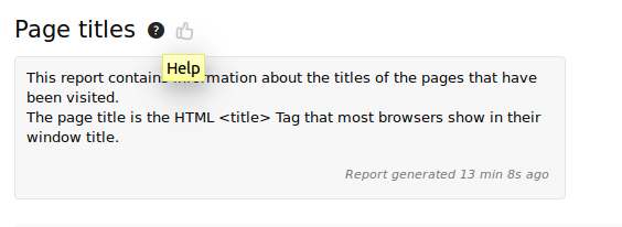 tooltip with report generated 13 min ago