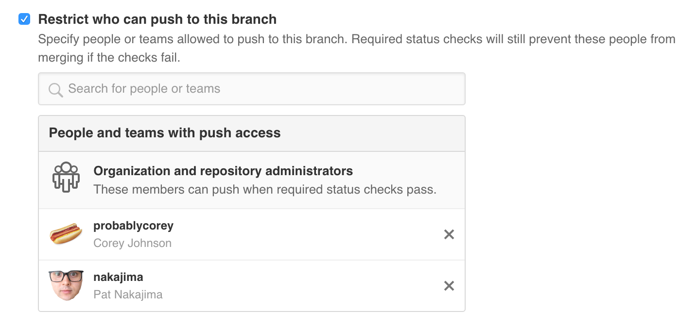 Choose which users and teams can push to a protected branch