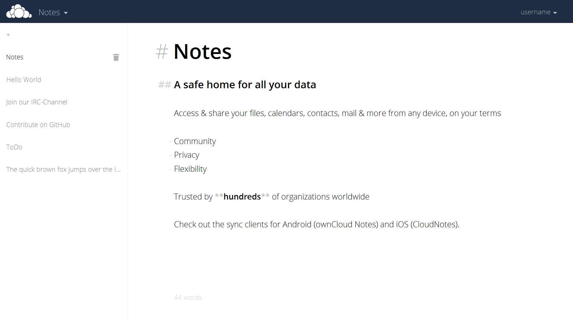 Screenshot of ownCloud Notes