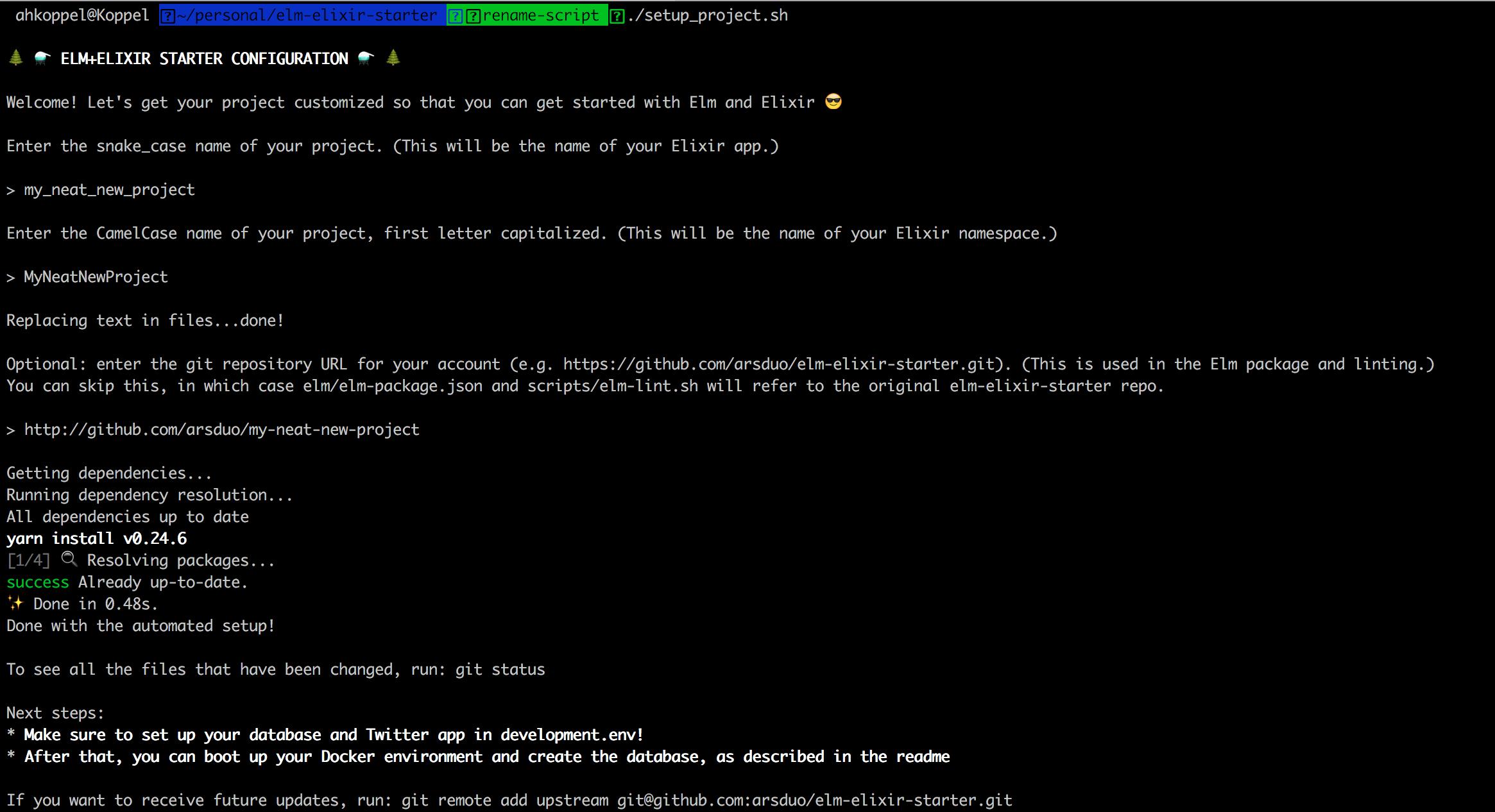 setup process screenshot