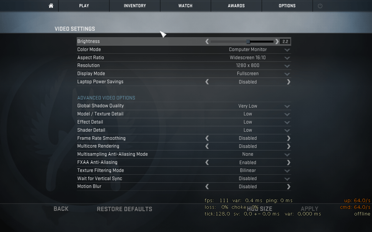 CS:GO video settings