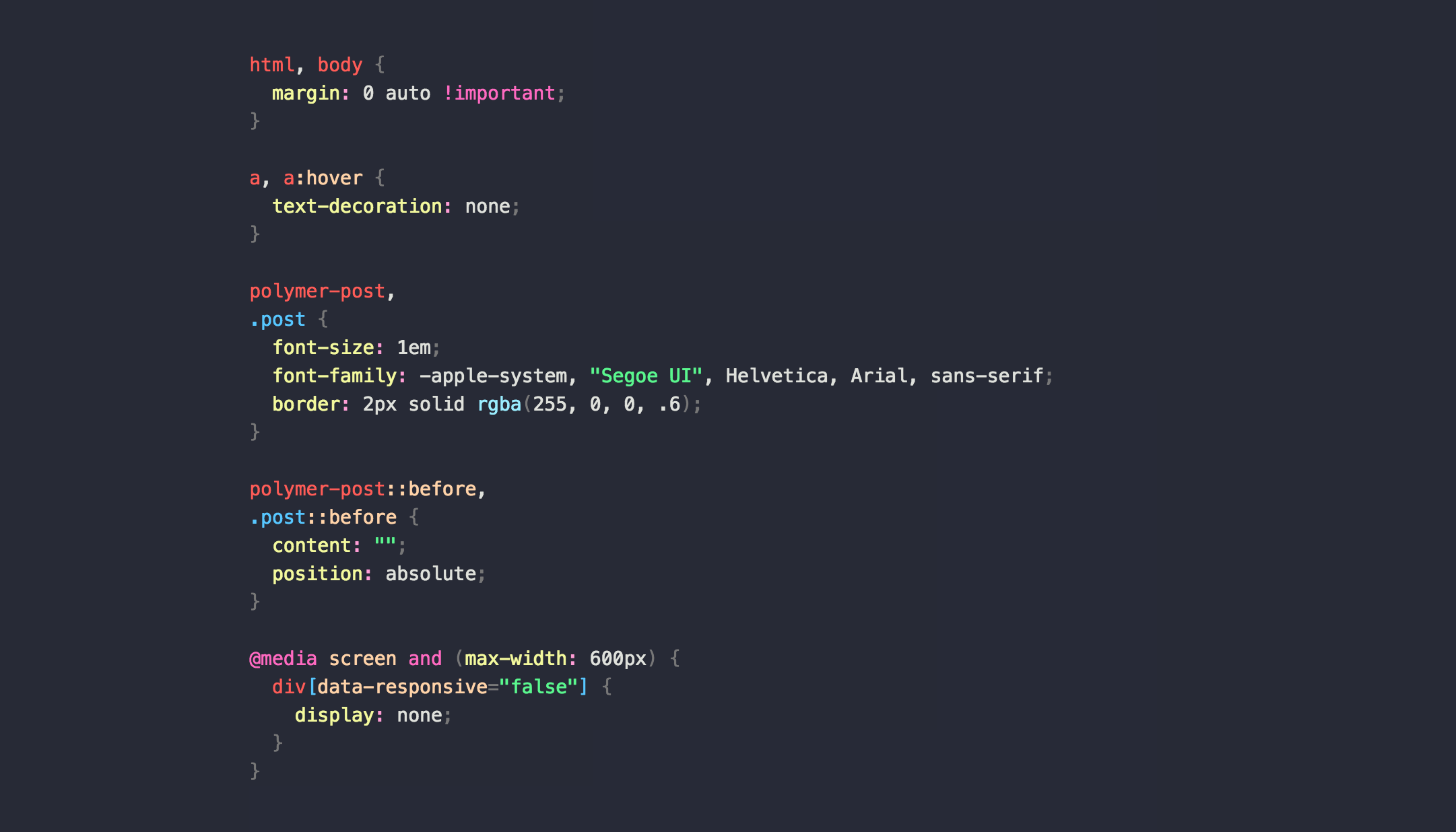 Atom Snazzy Clear CSS Screenshot