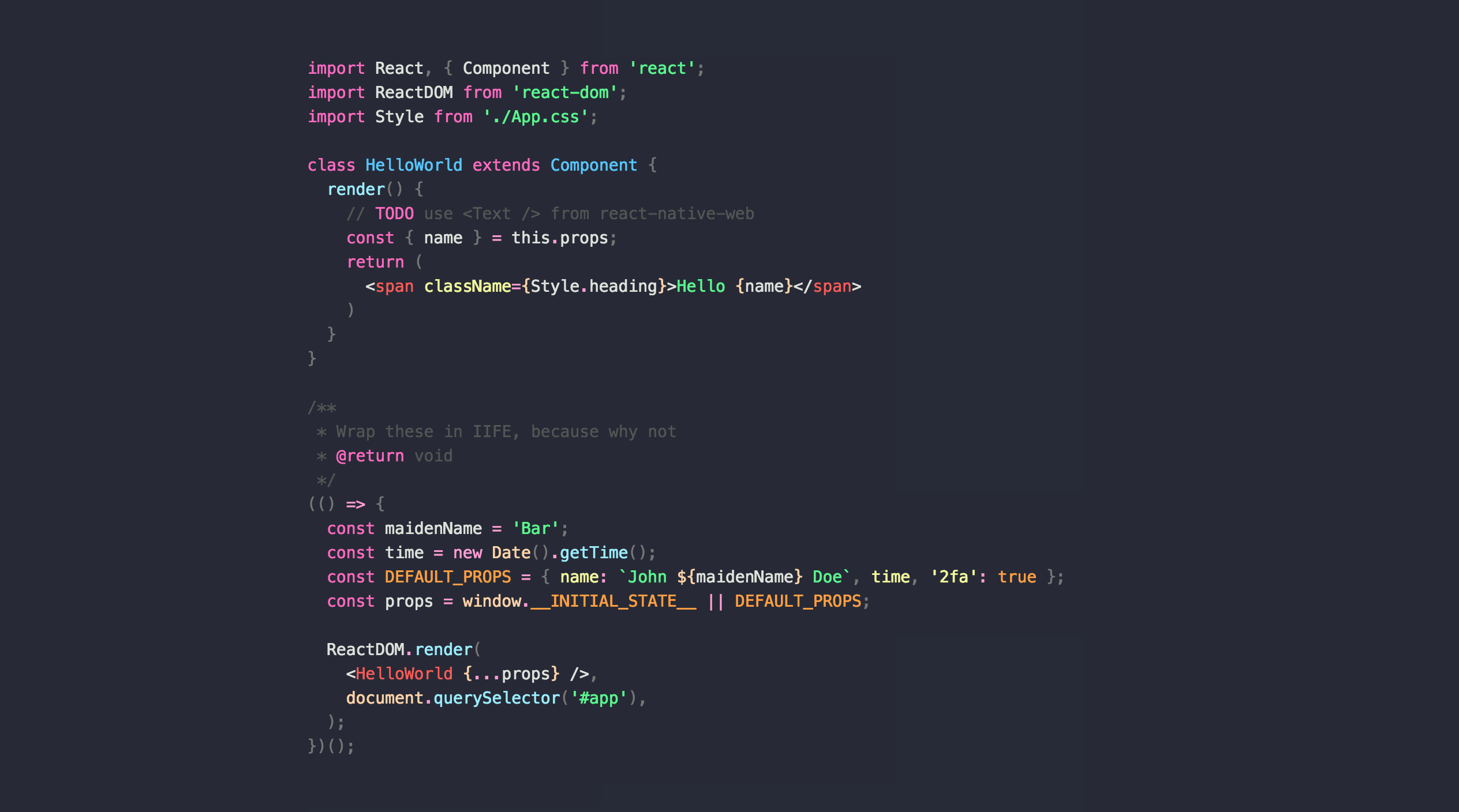 Atom Snazzy Clear JS Screenshot
