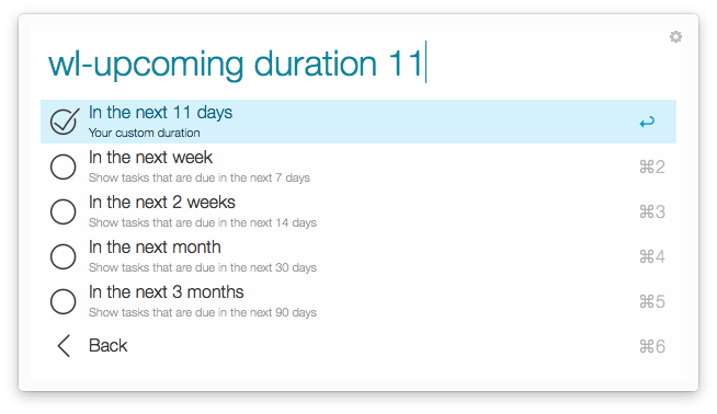 upcoming duration